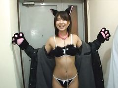 Japanese teen with cat costume gets banged