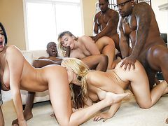 Full blown interracial orgy with three hungry chicks
