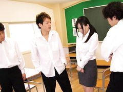Japanese teacher being abused by her students