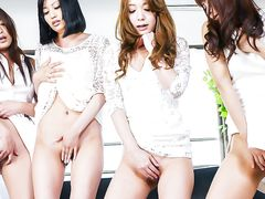 Horny Japanese girls masturbating together