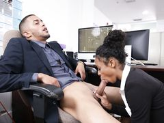 Young ebony drains her boss in the office